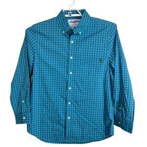 Chubbies Button Down Long Sleeve Blue Teal Shirt